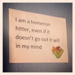 This hangs on the wall in his bedroom.