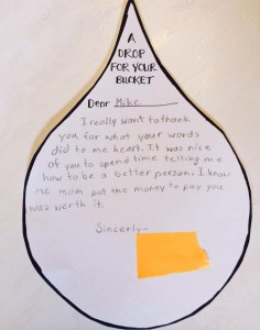 "This a ""drop for my bucket"" that a student recently wrote.  Seems very fitting given the nature of this blog."