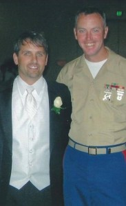 On my wedding day with my childhood friend, Kyle, who currently serves in the U.S. Marines.
